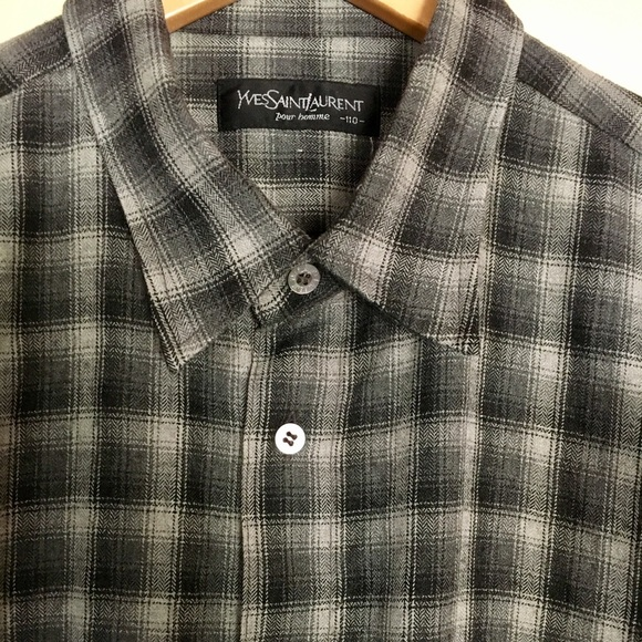 e35c736c Yves Saint Laurent Shadow Plaid Flannel sz Large
